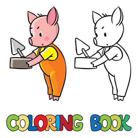 pigling: Coloring book or coloring picture of little piglet in orange overall with brick and trowel.