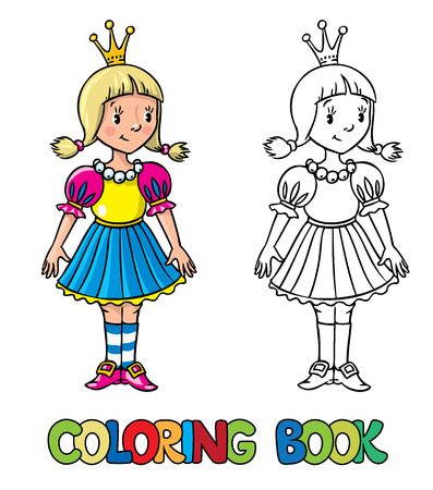 mediaval: Coloring book or coloring picture of little princess in mediaval dress.