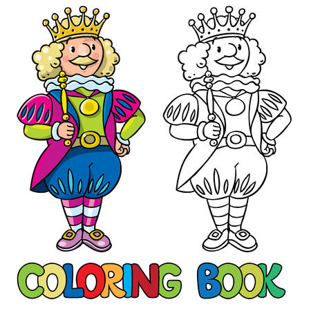 scepter: Coloring book or coloring picture of fairy tale king in the crown and scepter