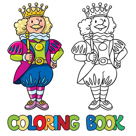 cetro: Libro de colorante o una imagen para colorear de cuento de hadas rey de la corona y el cetro
