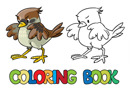 Coloring book or coloring picture of funny young brave sparrow Illustration