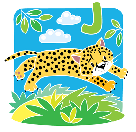 gepard: Children vector illustration of little funny jumping cheetah or jaguar.  Alphabet J