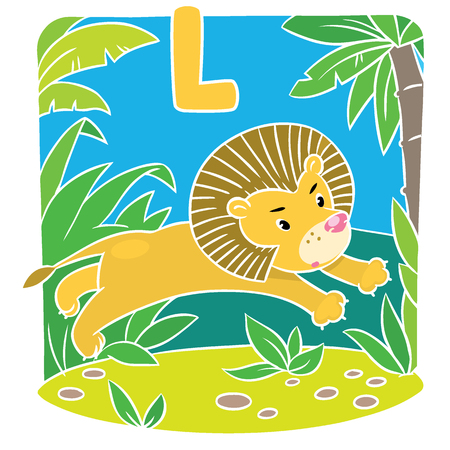 cartoon mountain: Children vector illustration of little funny lion jumping out of the jungle. Alphabet L