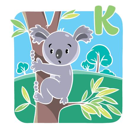 Children vector illustration of funny koala bear on eucaliptus tree. Alphabet K