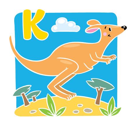 wallaby: Children vector illustration of little funny jumping kangaroo, running through the desert. Alphabet K Illustration