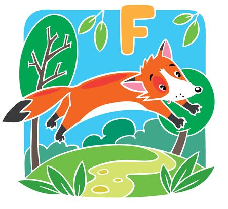 Children vector illustration of little funny red fox at the lawn. Alphabet F