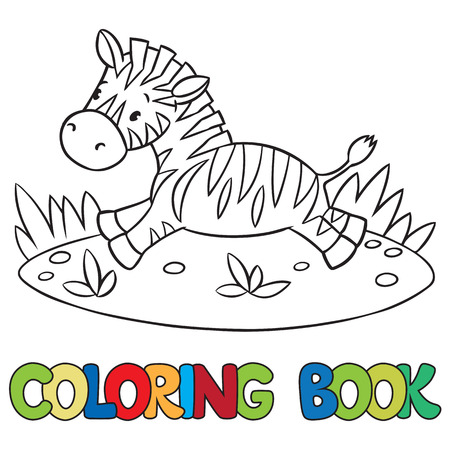 savannah: Coloring book or coloring picture of little funny zebra runs on savannah