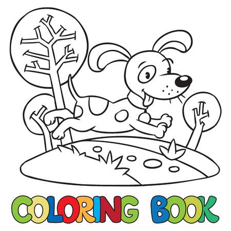 Coloring Book Or Coloring Picture Of Little Funny Dog Or Puppy