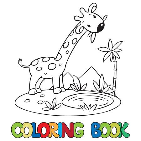 jirafa: Libro para colorear o una imagen para colorear de pequeña jirafa divertida de comer hojas verdes. Vectores