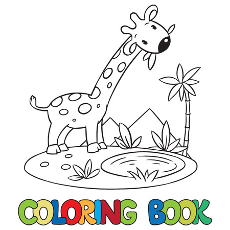 Coloring book or coloring picture of little funny giraffe eating green leafs.
