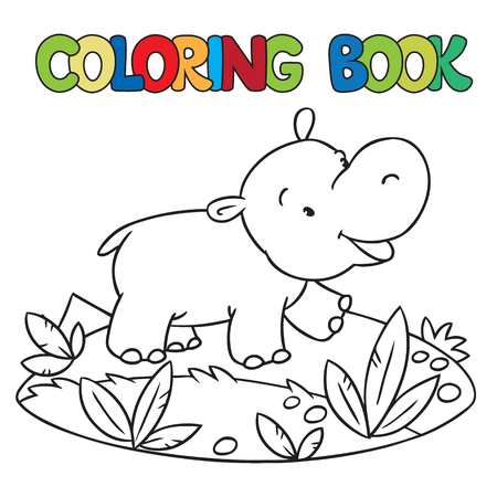 behemoth: Coloring book or coloring picture of little funny hippo or hippopotamus