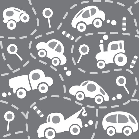 textile care: Seamless vector background of small funny vector cars and signs with dashed lines like road, for packin paper, diaper or wallpaper in children room.