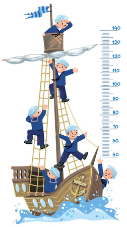 Ship meter wall. Vector illustration of a wooden sailboat with a team of six Jolly boys-sailors in vests and sailor hats