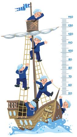 marinero: Pared de metro de la nave. Ilustración vectorial de un velero de madera con un equipo de seis Jolly Boys-marineros en chalecos y sombreros de marinero