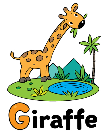 g giraffe: Children vector illustration of little funny giraffe eating green leafs. Alphabet G Illustration