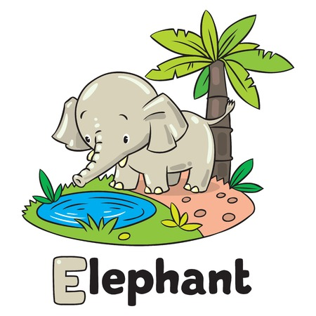 jumbo: Children vector illustration of little funny elephant or jumbo. Alphabet J