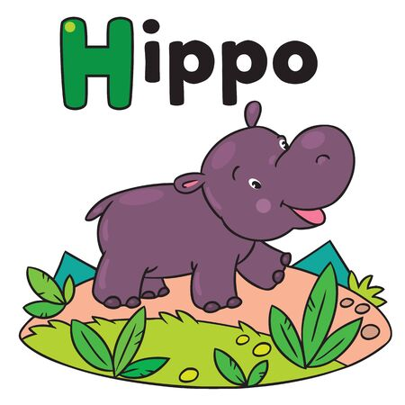 behemoth: Children vector illustration of little funny hippo or hippopotamus. Alphabet H Illustration