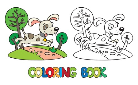 funny pictures: Coloring book or coloring picture of little funny dog or puppy