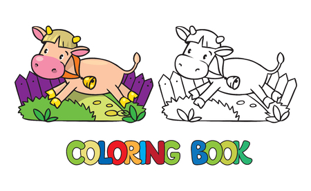 cow bells: Coloring book or coloring picture of funny cow or calf Illustration