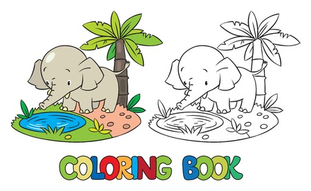 funny pictures: Coloring book or coloring picture of little funny elephant or jumbo