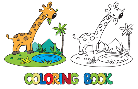picture book: Coloring book or coloring picture of little funny giraffe eating green leafs.
