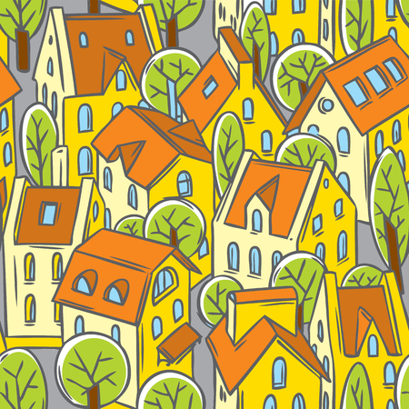 nice house: City seamless pattern with houses, trees and roofs in linocut or woodcut style Illustration