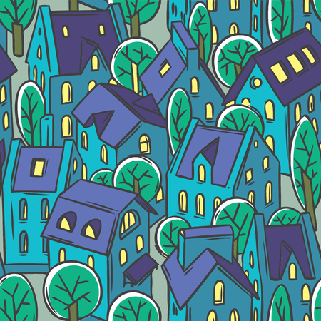 cold cuts: City seamless pattern with houses, trees and roofs in linocut or woodcut style Illustration