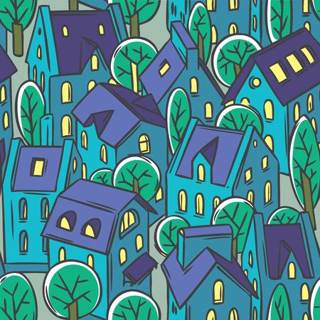 fiambres: Ciudad sin patrón, con casas, árboles y tejados en linograbado o grabado en madera de estilo Vectores