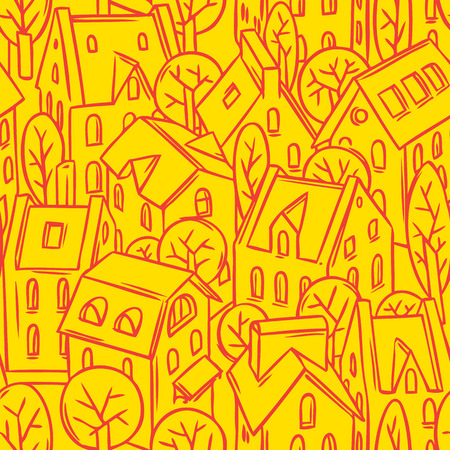 fiambres: Ciudad Modelo monocromático inconsútil con casas, árboles y tejados