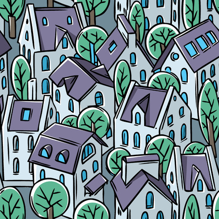 soir�e: City seamless pattern with houses, trees and roofs in evening Illustration