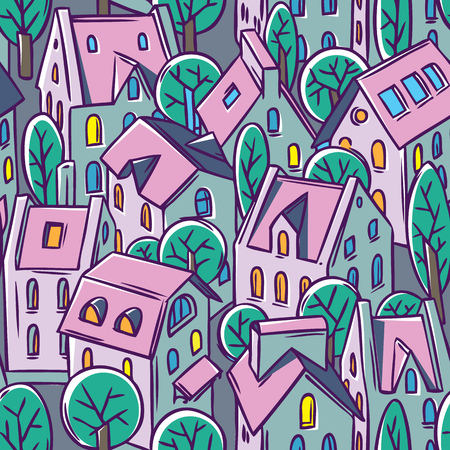 nice house: City seamless pattern with houses, trees and roofs in evening Illustration