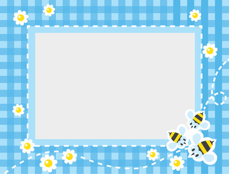 Frame or border for card or photo with funny flying bees and flowers on blue checkered tablecloth background. Children vector illustration