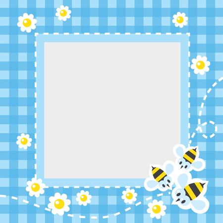 checkered tablecloth: Frame or border for card or photo with funny flying bees and flowers on blue checkered tablecloth background. Children vector illustration