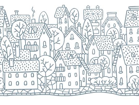 fiambres: Ciudad patrón horizontal transparente con casas, árboles y tejados