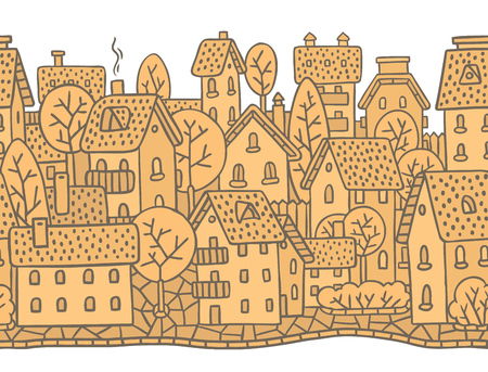 horizontally: City horizontally seamless monochrome pattern with houses, trees and roofs