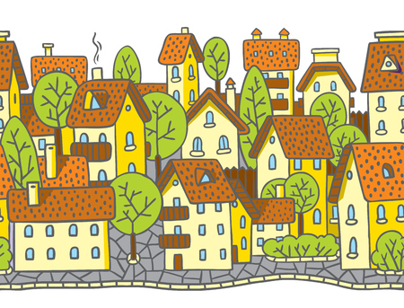 horizontally: City horizontally seamless pattern with houses, trees and roofs