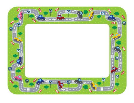 재미 프레임 또는 도로, 잔디 지역과 자동차의 테두리입니다. 아이들은 그림을 벡터.