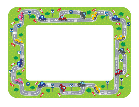 Funny frame or border of roads, grass areas and cars. Children vector illustration.