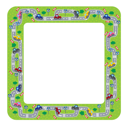 grass area: Funny sqare frame or border of roads, grass areas and cars. Children vector illustration. Illustration