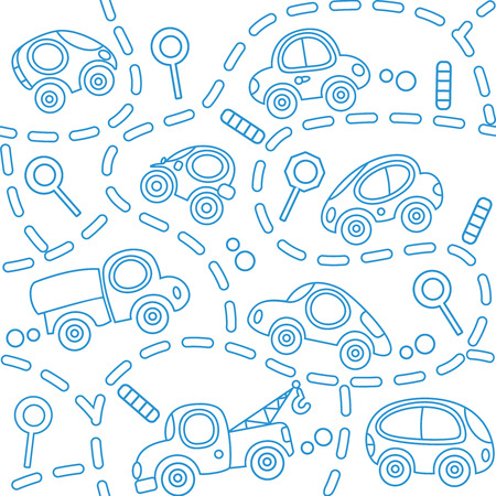 small room: Seamless vector background of small funny vector cars and signs with dashed lines like road, for packin paper, diaper or wallpaper in children room.