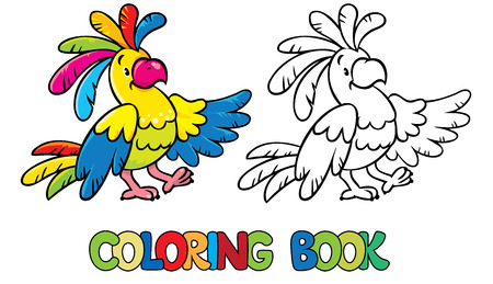 parakeet: Coloring book or coloring picture of funny parrot