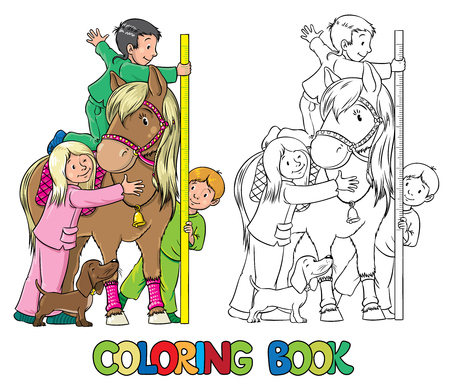 a picture: Coloring book or coloring picture of one girl and two boys, which measures the growth of pony Illustration