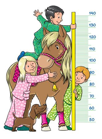 pony girl: Meter wall or height meter with one girl and two boys, which measures the growth of pony Illustration