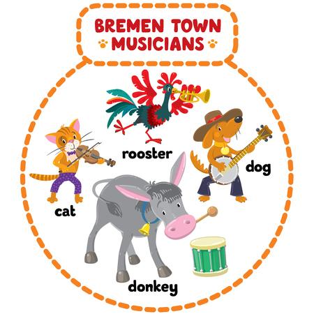 m�sico: Conjunto de dibujos animados o ni�os ilustraciones de gracioso m�sicos de Bremen, gato, perro, gallo y burro Vectores