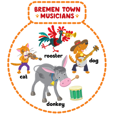 bremen: Set of cartoon or children illustrations of funny Bremen Town Musicians, cat, dog, rooster and donkey