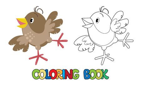 funny baby: Coloring book or coloring picture of small funny jumping sparrow with shot wings and yellow bill