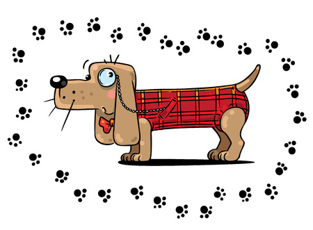 sniffer: Children illustration of funny clever detective dog in a plaid vest surrounded of footprint