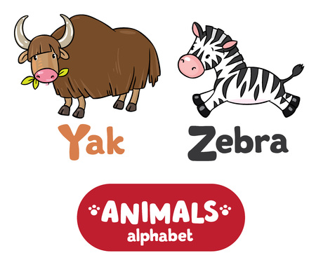 funny ox: Children vector illustration of funny yak and zebra.  Animals zoo alphabet or ABC.