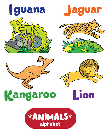 gepard: Children vector illustration of funny iguana, jaguar, kangaroo and lion.  Animals zoo alphabet or ABC.