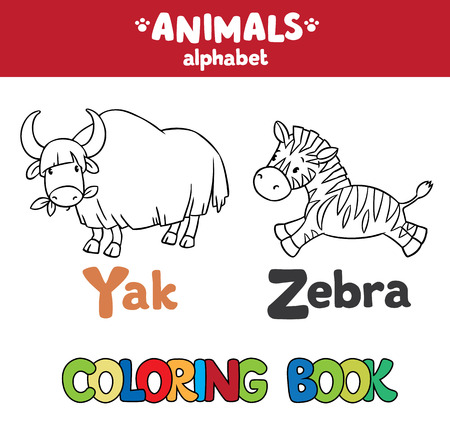 yak: Coloring book or coloring picture of funny yak and zebra.  Animals zoo alphabet or ABC. Illustration